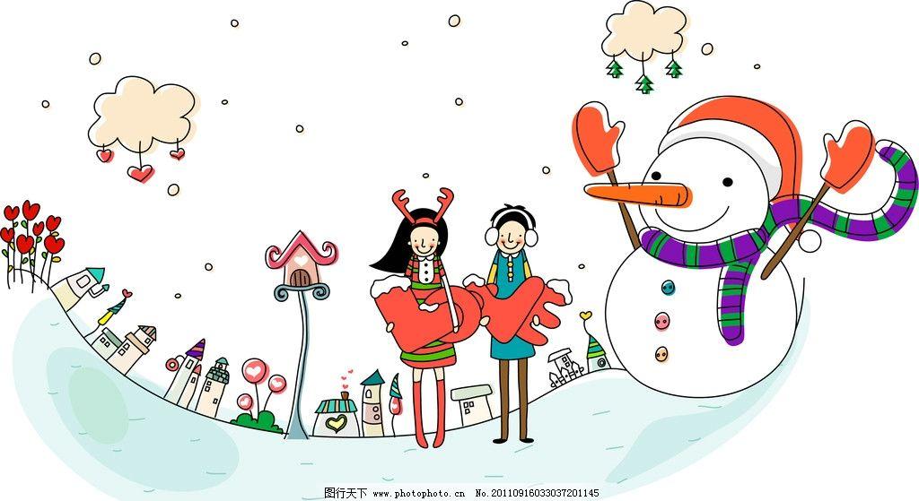 温馨 可爱 天真 童话 手绘 鼠绘 漫画 雪地 雪人 圣诞 冬天 下雪 卡通