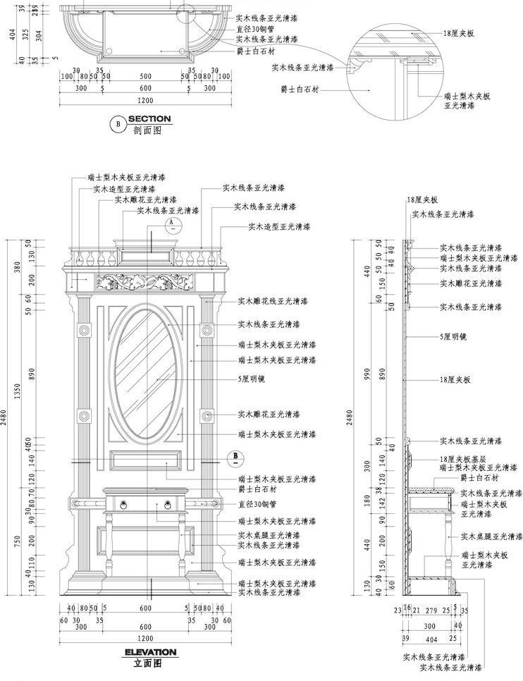 欧式玄关墙立剖面图片