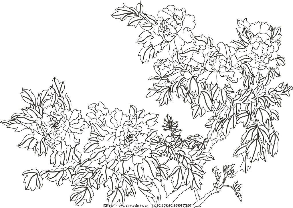 铁花隔断黑白矢量图