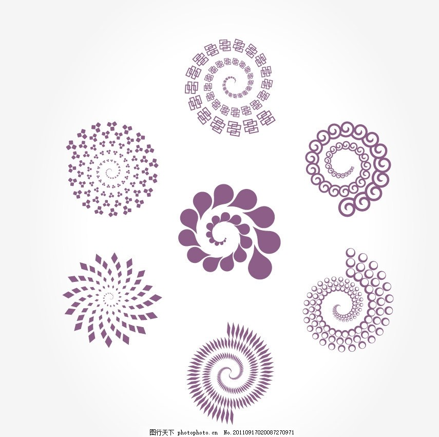旋转logo标志设计 圆点 方形 花纹 螺旋 图形 形状 绚丽