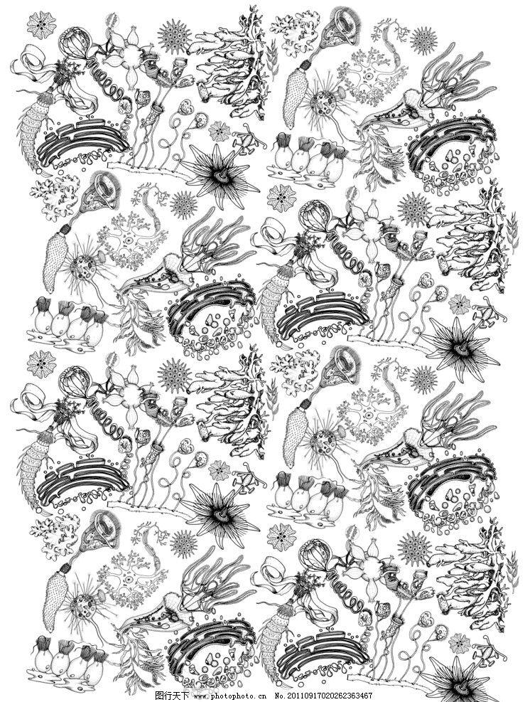 服装印花 海底动物 鱿鱼图案 背景底纹 底纹边框 设计 300dpi jpg