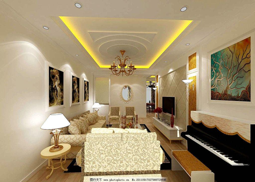 欧式别墅客厅放钢琴效果图