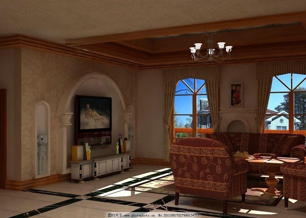 欧式客厅 吊顶 铺砖 沙发