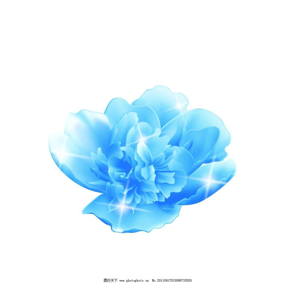 兰牡丹 花卉 花 鲜花 卡通花 牡丹 蓝牡丹 手绘牡丹 手绘 psd分层素材