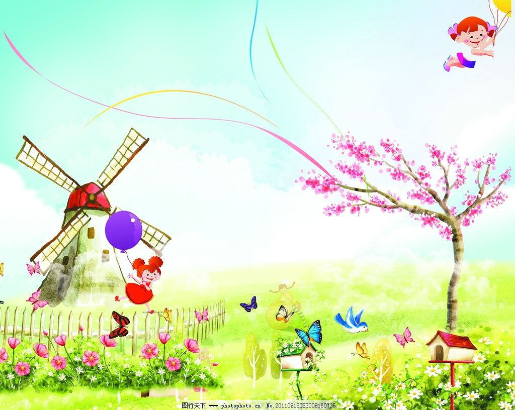 卡通背景 天空 草地 小鸟 蝴蝶 儿童 气球 风车 花草 小屋