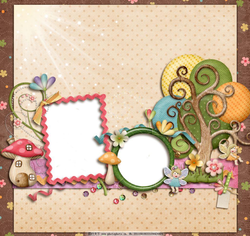 丝带 小动物 欧式相框 卡通模板 卡通背景 节日相框 漂亮相框 儿童