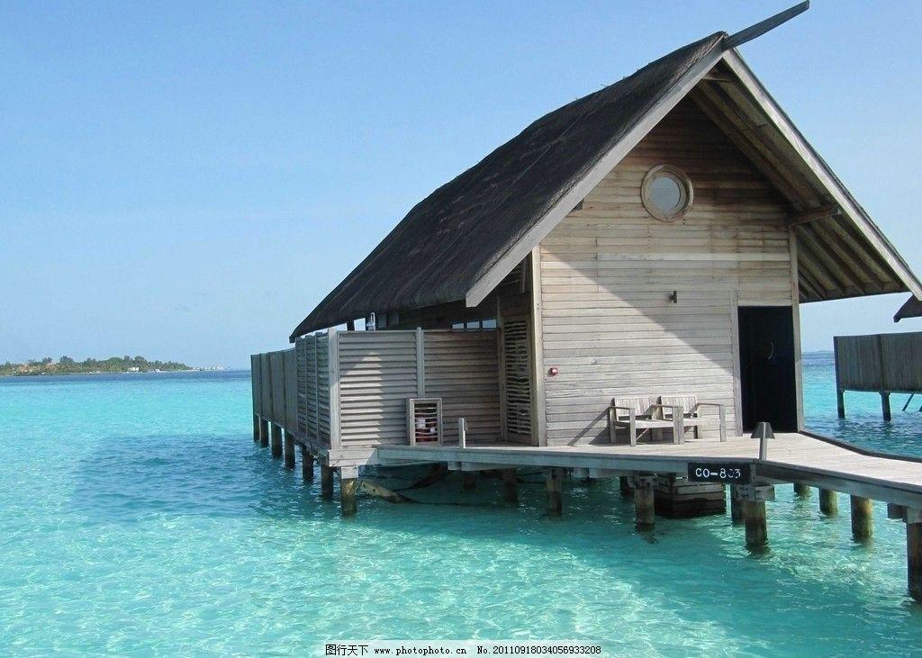 天堂岛 度假村 旅游岛 栈桥 海景房 洋面 蓝色海水 清澈见底 蓝天
