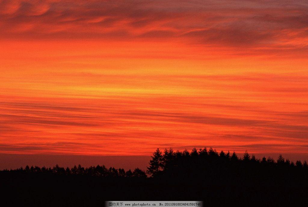 晚霞风景 自然 树林 天空 摄影