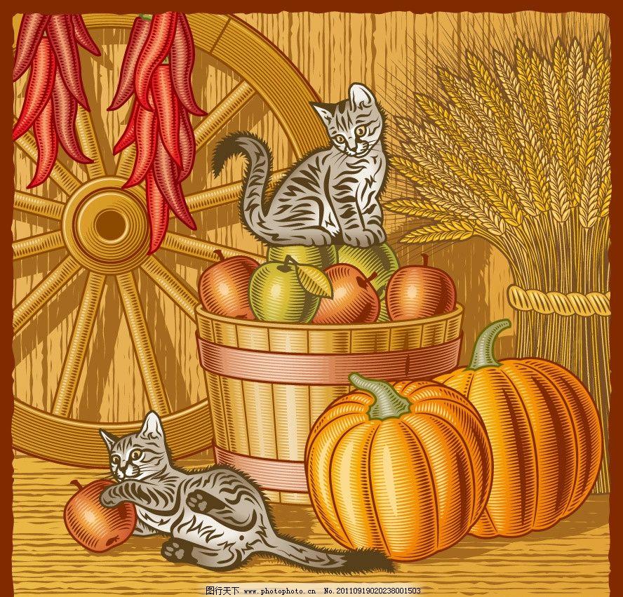 丰收的秋天背景 麦穗 南瓜 果实 辣椒 木轮 小猫 玩耍 线条 手绘 时尚