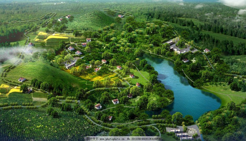 树丛园林景观图片手绘