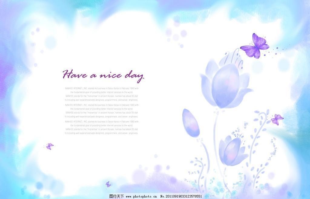 梦幻相框 淡蓝色 蝴蝶 花朵 梦幻背景图 摄影模板 相框模板 艺术照