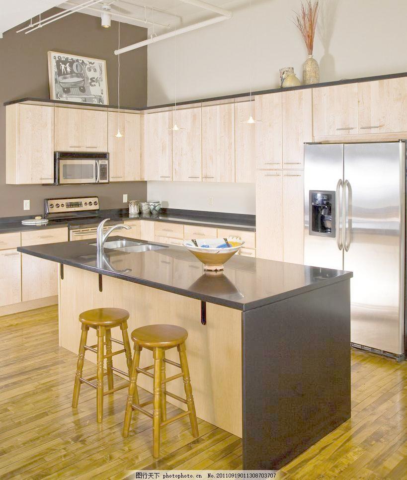 现代厨房图片素材下载 现代厨房 西式厨房 开放式厨房 现代家居 木凳