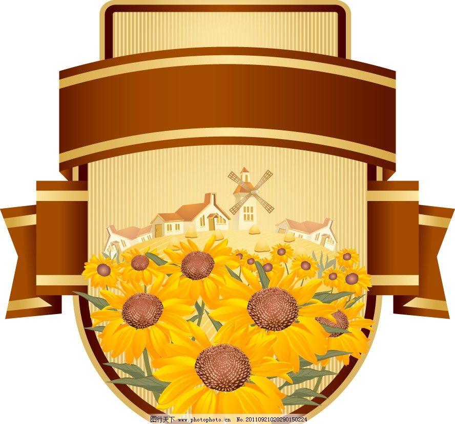 秋天丰收的农场向日葵标签贴纸图片