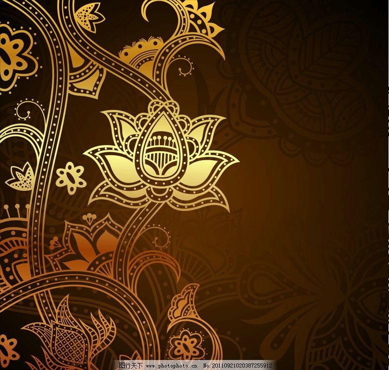 金色欧式梦幻花纹花朵图片