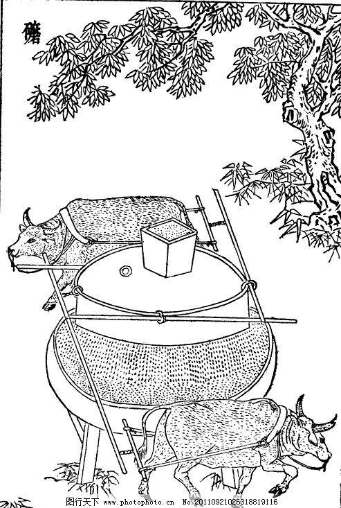 中国古代版画技艺工艺类 农耕 矢量