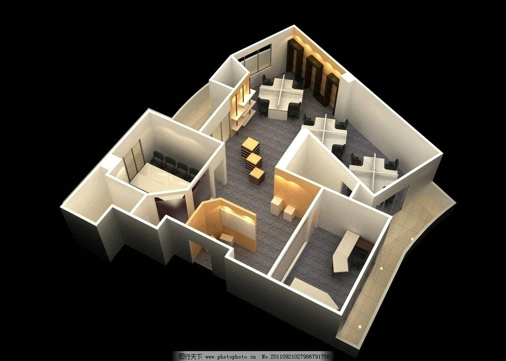 俯视图 轴测图 办公室设计 室内设计 环境设计 设计 72dpi jpg