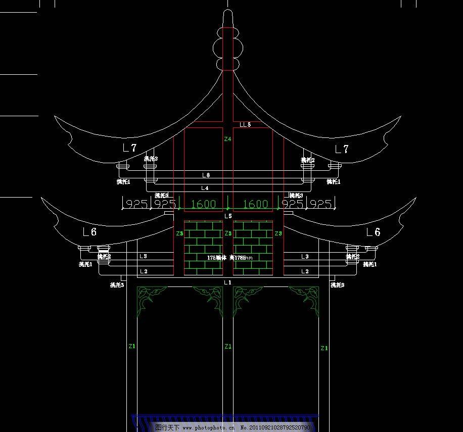 双层六角亭结构图 cad dwg 图纸 廊架 长廊 凉亭 重檐 仿古 古典 八角