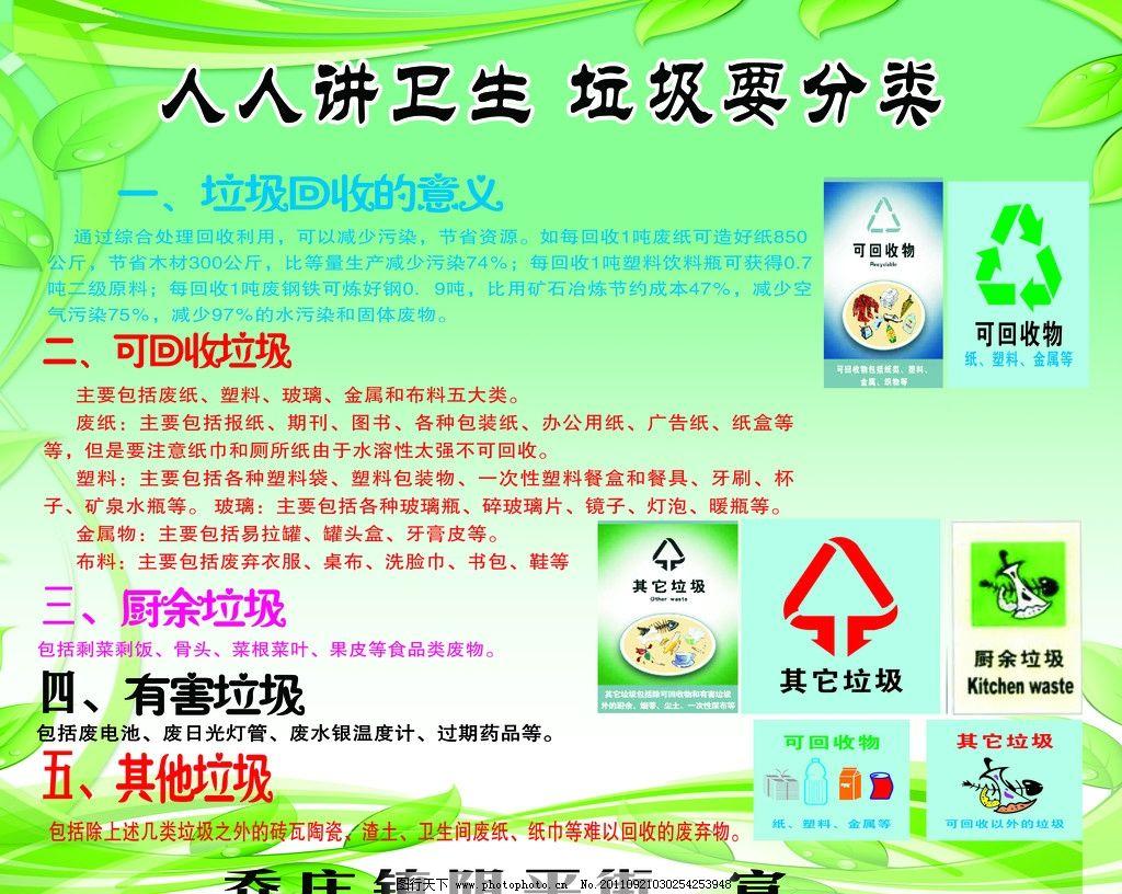 提倡垃圾分类宣传单图片_展板模板_广告设计_图行天下