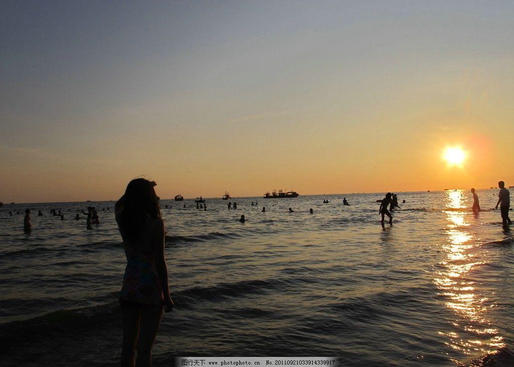 北海 银滩 大海 蔚蓝 蓝天 捕鱼 海滩 jpg 游泳 夕阳 落日 唯美 观海