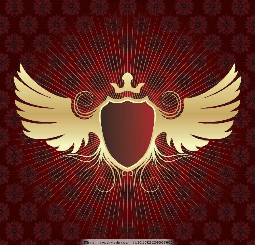 欧式花纹盾牌翅膀 欧式 古典 时尚 花纹 盾牌 翅膀 背景 底纹 矢量