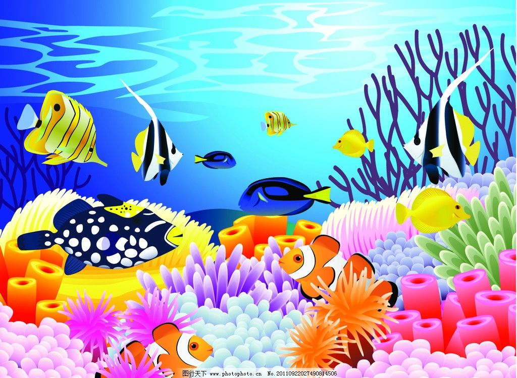 卡通海底世界 卡通 海底世界 章魚 海洋生物 烏龜 魚圖片