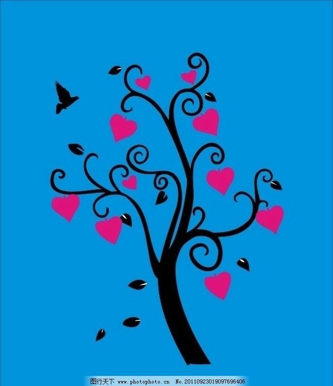 一颗树 墙贴 红色 心形 移门贴 鸟 艺术墙贴 美术绘画 文化艺术 矢量