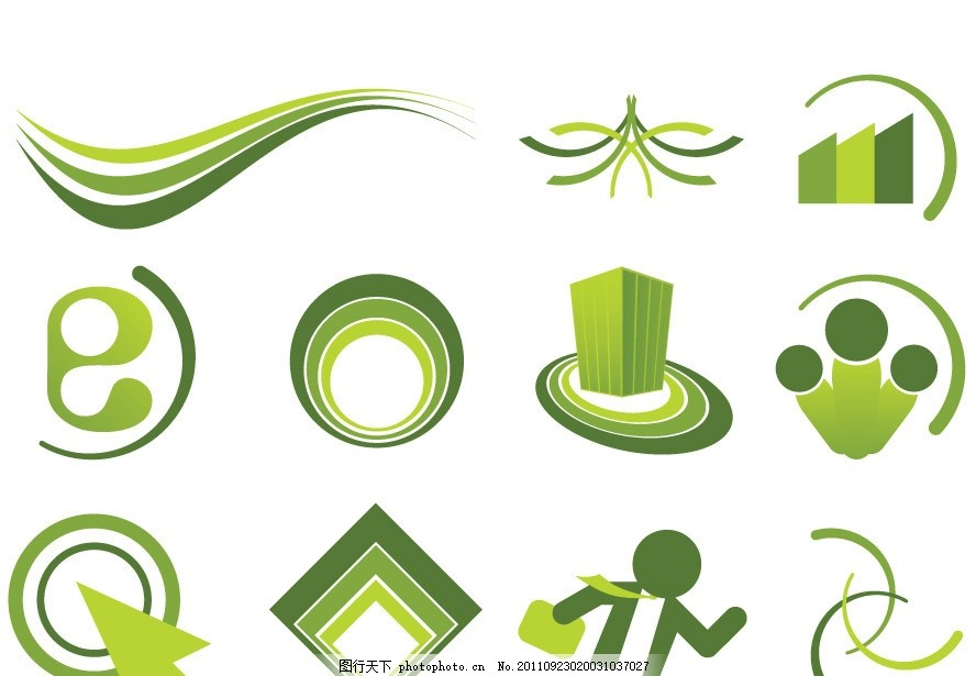 绿色线条圈圈logo标志设计 动感 圆点 人物 箭头 建筑 图形