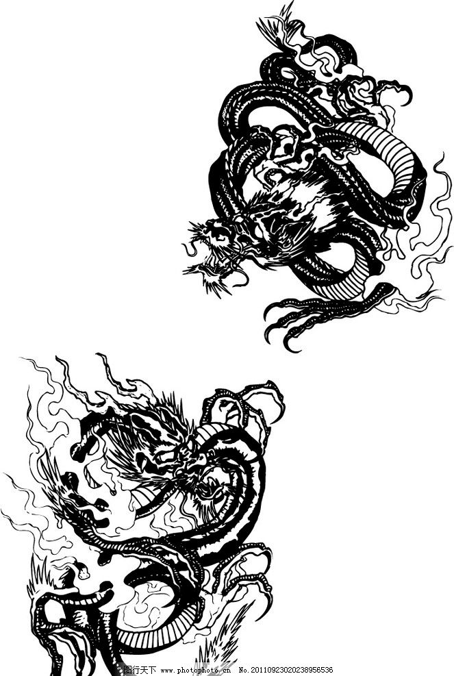 中国龙 矢量龙 龙 底纹背景 底纹边框 矢量 ai