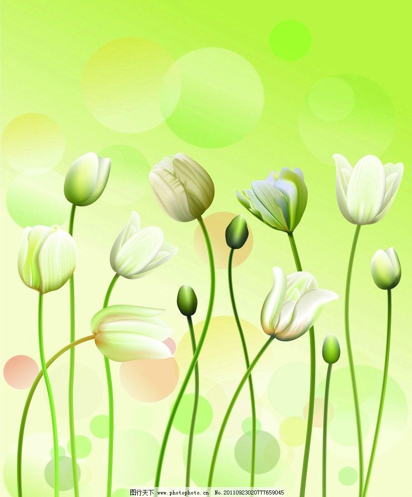 郁金香 移门 花 花丛 花朵 绿色 圆圈 移门图案 底纹边框 设计 72dpi