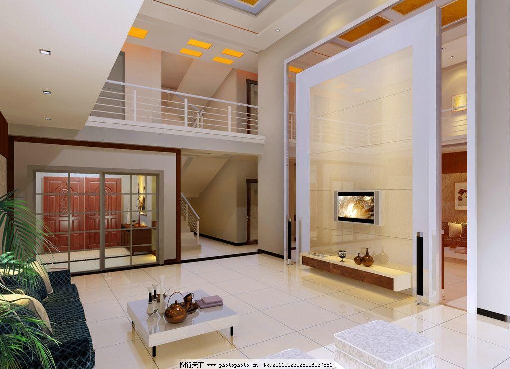 现代别墅客厅 复式楼 室内装修 别墅外观效果图 建筑设计 环境设计