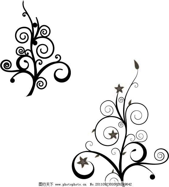 花纹 线条 花纹线条 线条花纹 圆圈 星星 小花 小草 剪影 花草
