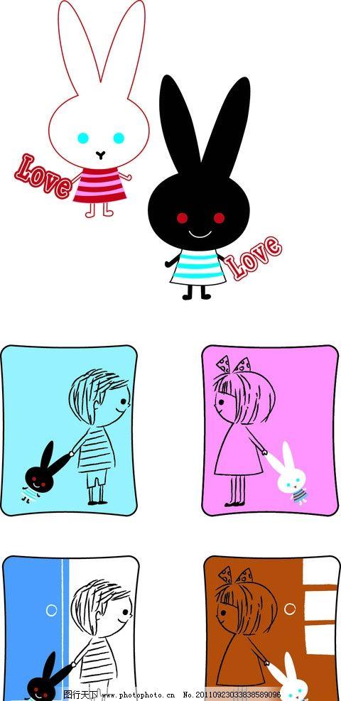 小兔图片,朴素 可爱 情侣 卡通 矢量素材 其他矢量-图