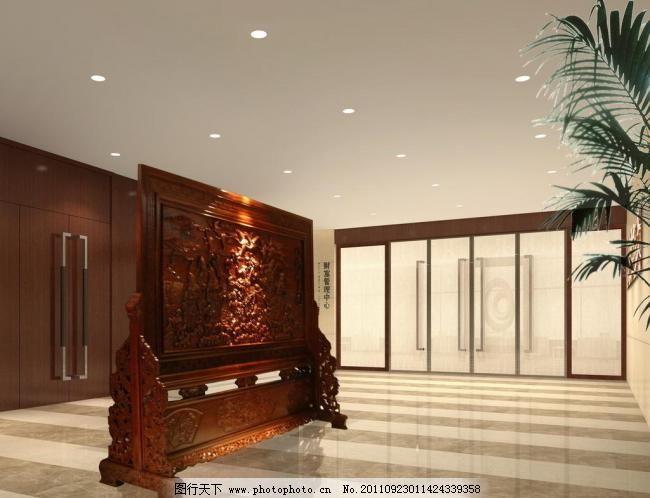 门厅效果图 办公楼 办公效果图 背景墙设计 玻璃门 雕花 雕刻