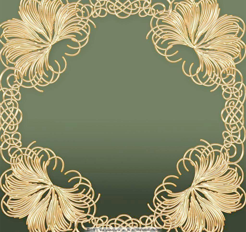 底纹 金色花边 金色边框 金黄色花纹 背景 矢量素材 欧式边框相框