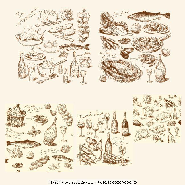 食品 食品素材 西餐 西餐 食品 食品素材 矢量图 日常生活