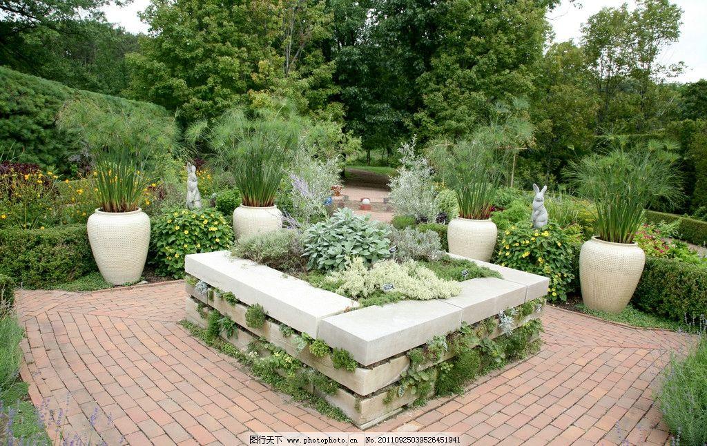 花园 欧式花园 西式花园 草地 西式建筑 园林设计 花圃 花盆 树 花草