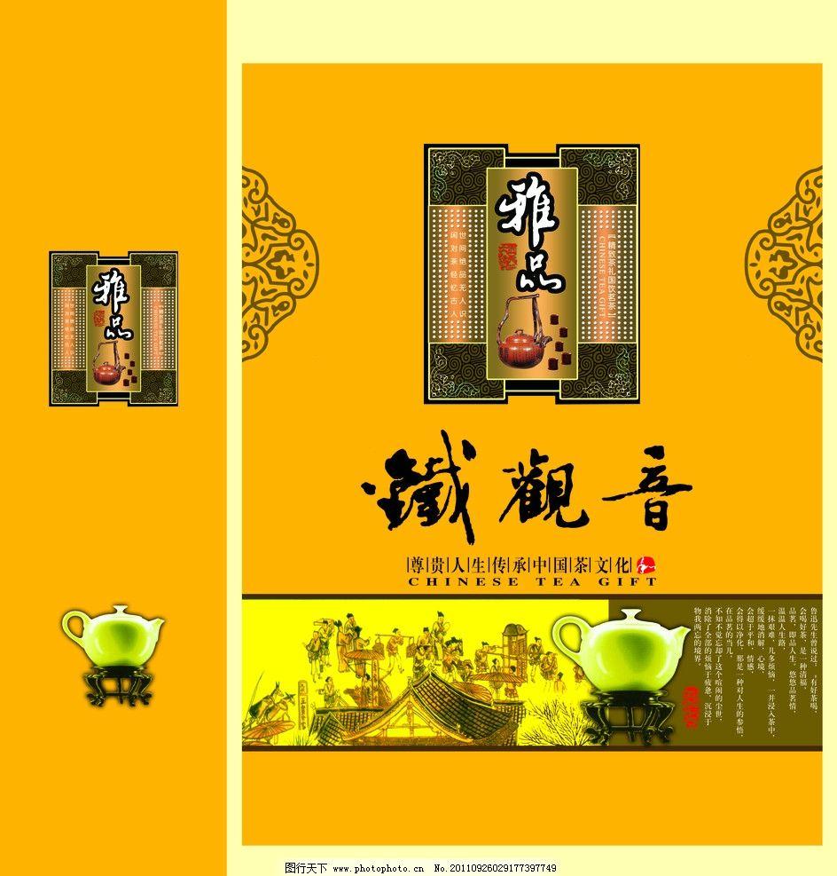 铁观音包装盒 铁观音字体 花纹 清明上河图 玉壶 包装设计 广告设计模