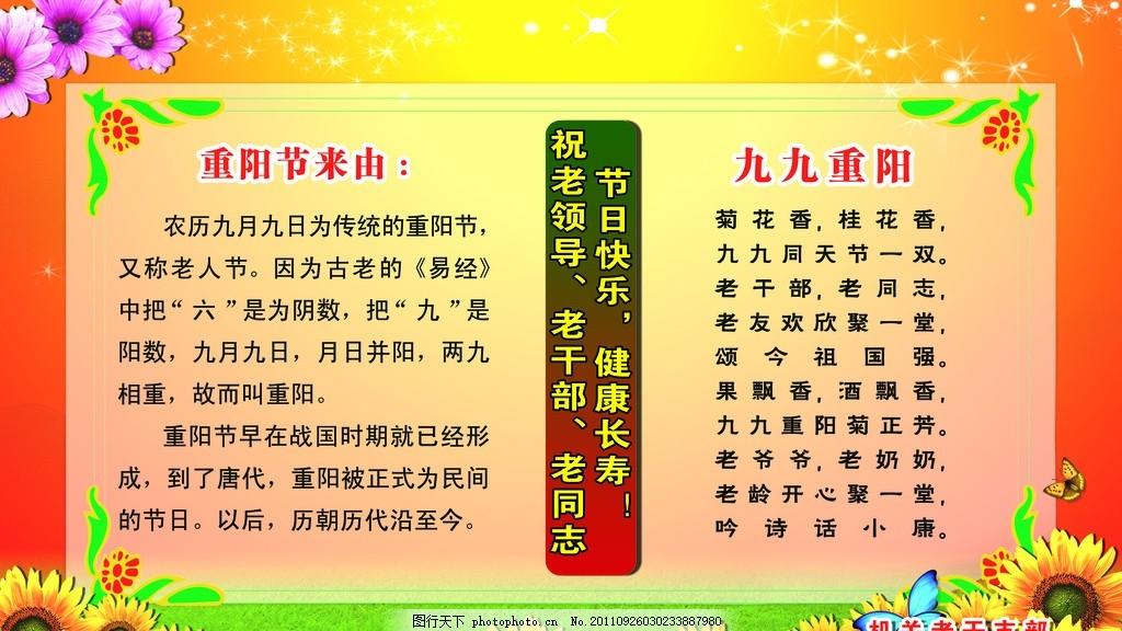 重阳节展板 菊花 绿草 花边 边框 红色背景 重阳节的由来 九九重阳