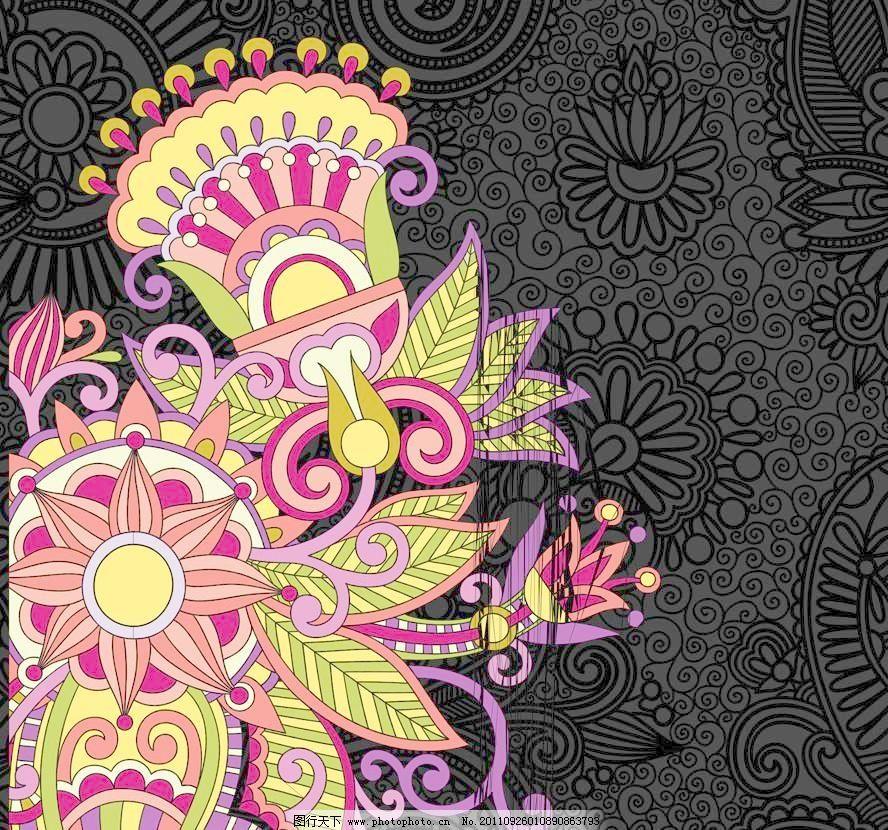手绘古典花纹欧式花纹底纹图片