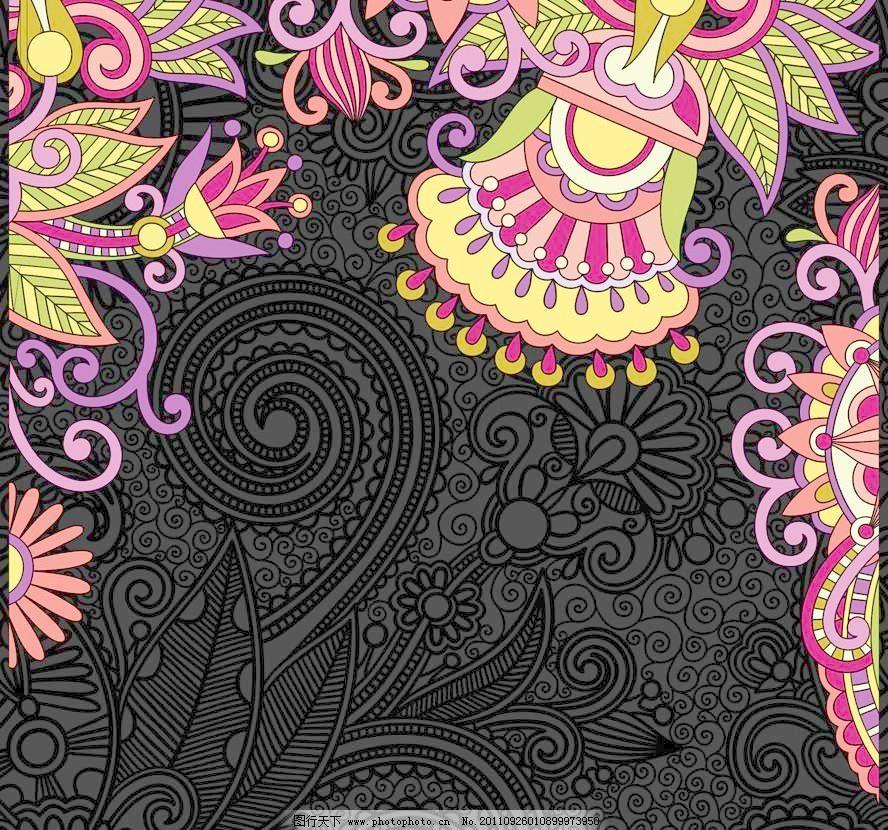 欧式鲜艳手绘花朵背景