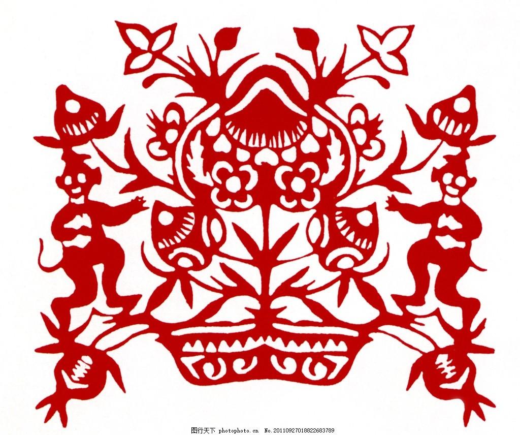 猴摘桃 猴子 桃子 传统素材 中国图案 吉祥图案 传统图案 中国设计