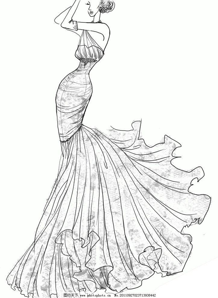 婚纱人物 婚纱矢量人物 婚纱 新娘 线条 女性妇女 人物图库 设计 72