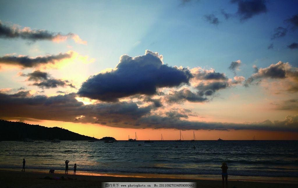 夕阳西下 火烧云 云朵 海边 风景摄影
