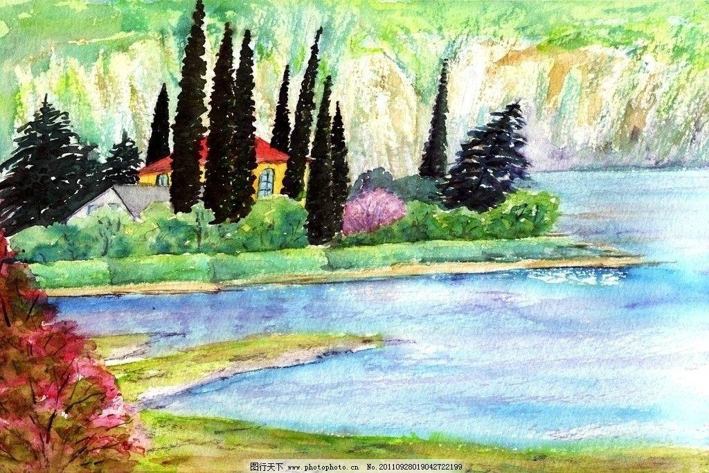 湖边小屋 乡下风光 风景画 水彩画 西洋画 绘画书法 文化艺术 设计