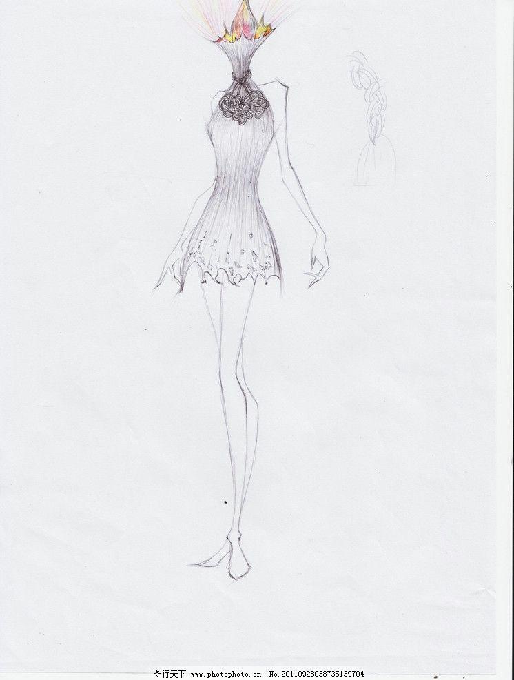 创意绘画 服装画 卡通画 美女素描 黑白 时装画 手绘人物模特-卡通美女