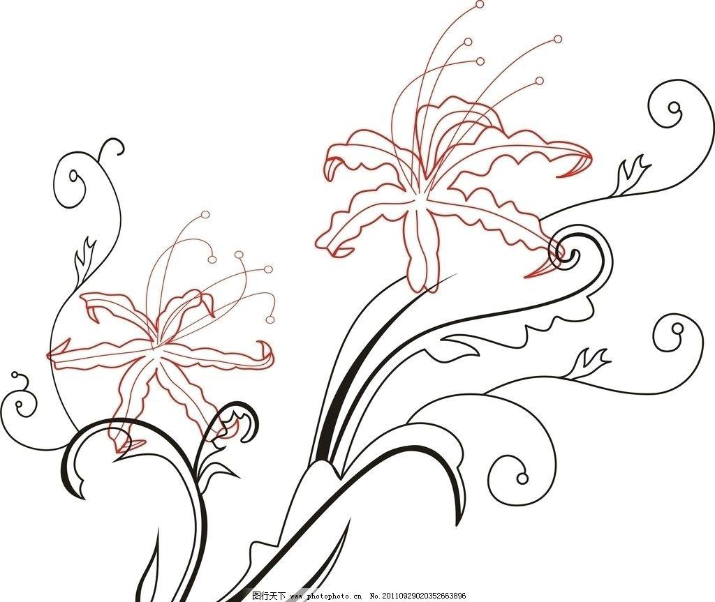 彼岸花 线条 花纹 花边花纹 底纹边框 设计 300dpi jpg