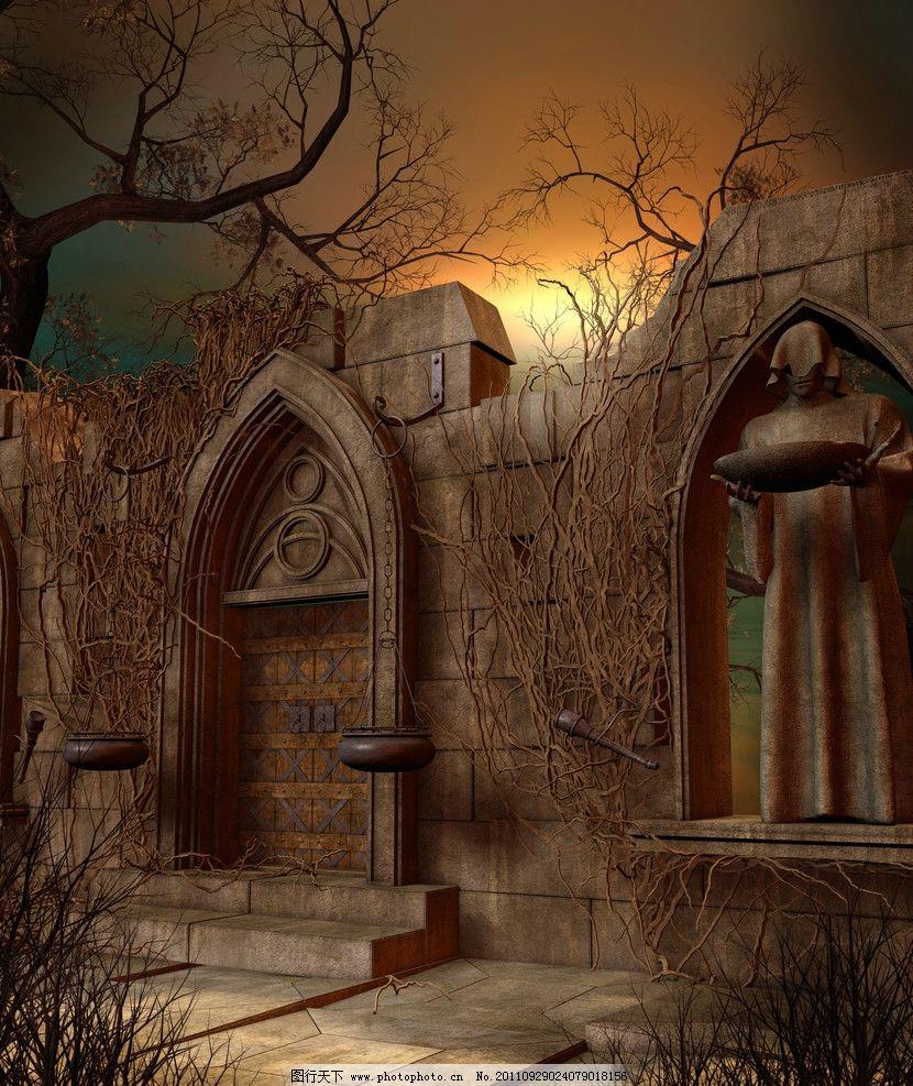 童话世界 梦幻森林 梦幻背景 浪漫背景 影楼 温馨 情调 哥特式建筑