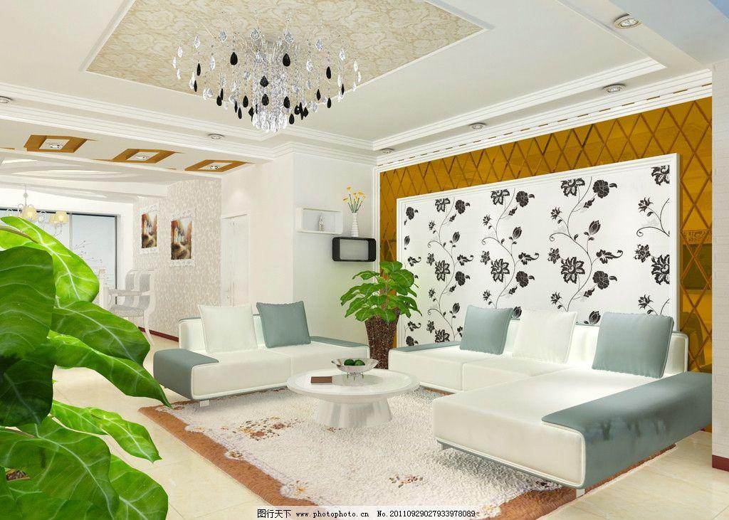 客厅效果图 壁纸 茶镜 沙发 室内设计 环境设计 设计 72dpi jpg