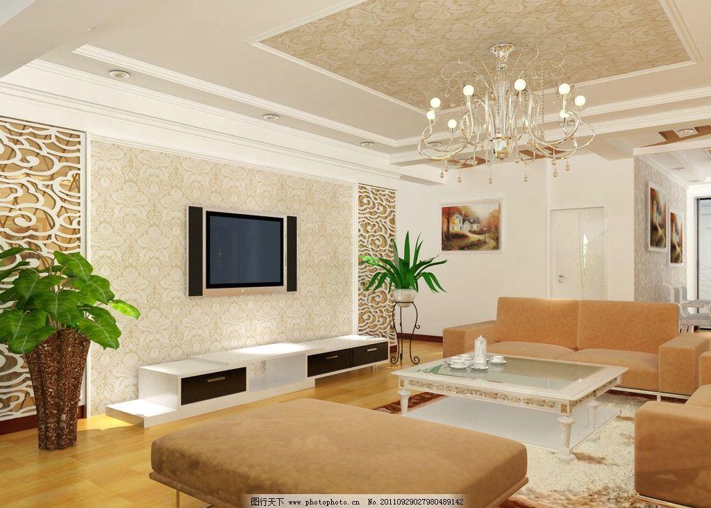 客厅效果图 刻花 壁纸 茶镜 电视 沙发 室内设计 环境设计 设计 72dpi