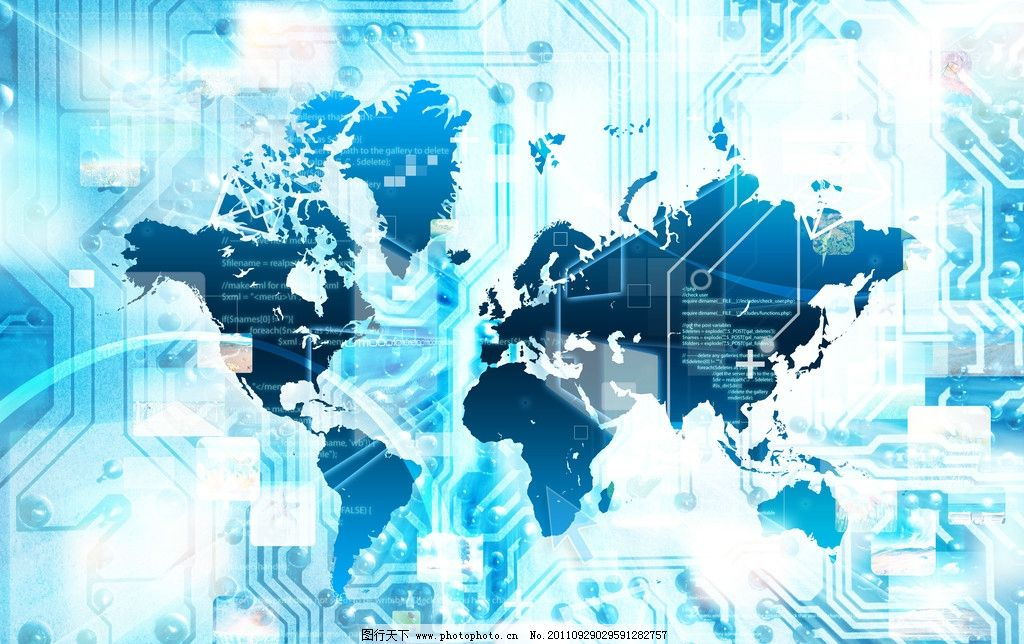商务科技背景 电路板 地球 光芒 线条 动感线条 数字 条纹 广告设计
